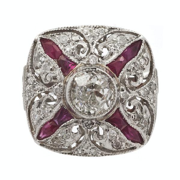 Art Deco Platinum, Ruby & Diamond Ring - image 2