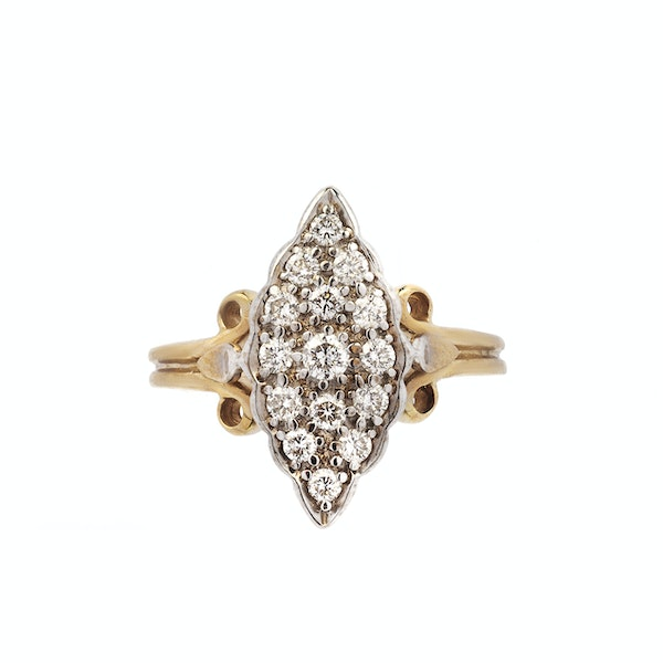 Antique Gold & Diamond Marquise Ring - image 1