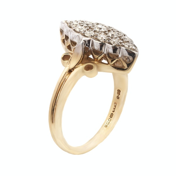Antique Gold & Diamond Marquise Ring - image 2