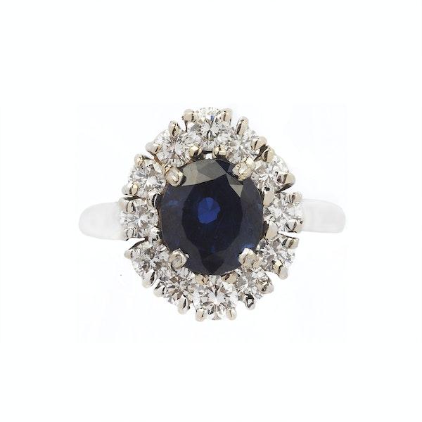 Vintage White Gold, Diamond & Sapphire Ring - image 1