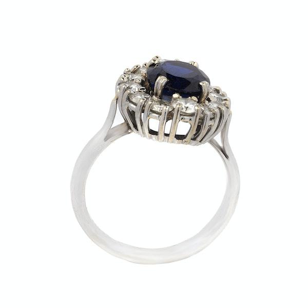 Vintage White Gold, Diamond & Sapphire Ring - image 2