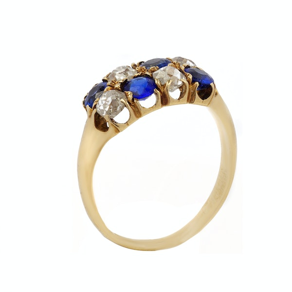 Victorian Gold, Diamond and Sapphire Ring - image 1