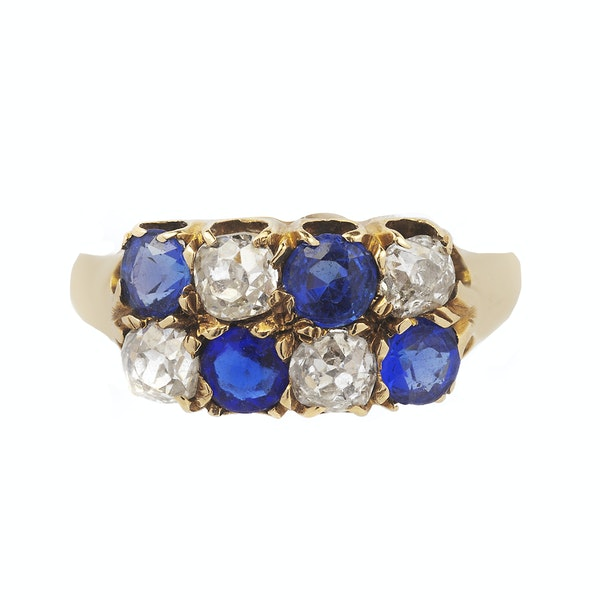 Victorian Gold, Diamond and Sapphire Ring - image 2