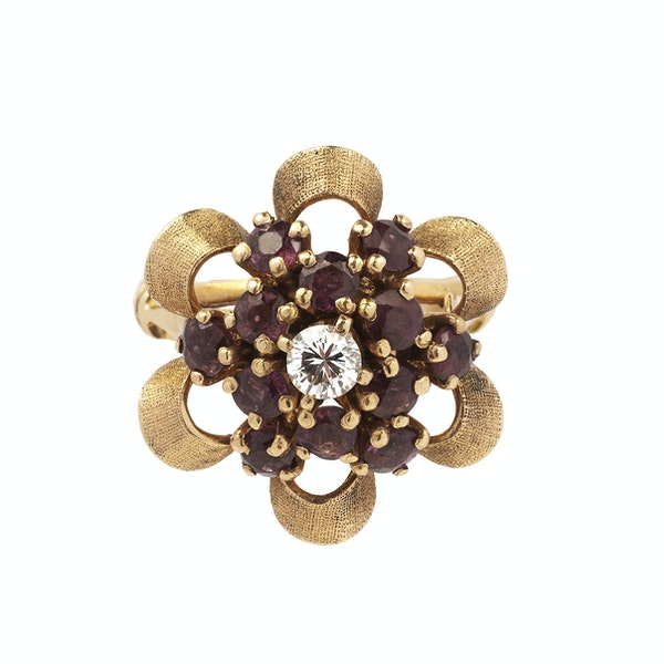 Gold, Diamond and Ruby Flower Ring - image 1