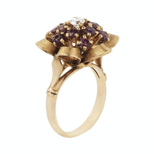 Gold, Diamond and Ruby Flower Ring - image 2