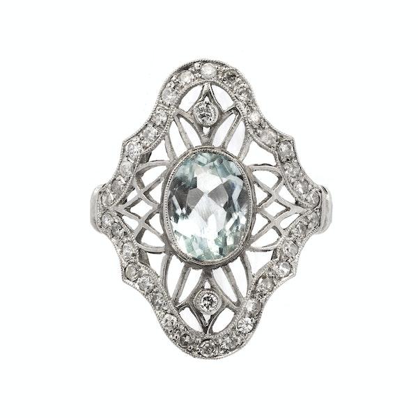 Art Deco Platinum, Diamond and Aquamarine Ring - image 1