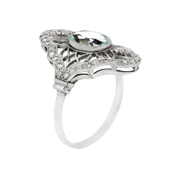 Art Deco Platinum, Diamond and Aquamarine Ring - image 2