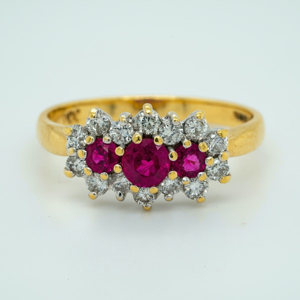 18K yellow gold 0.35ct Natural Ruby and 0.40ct Diamond Ring - image 1