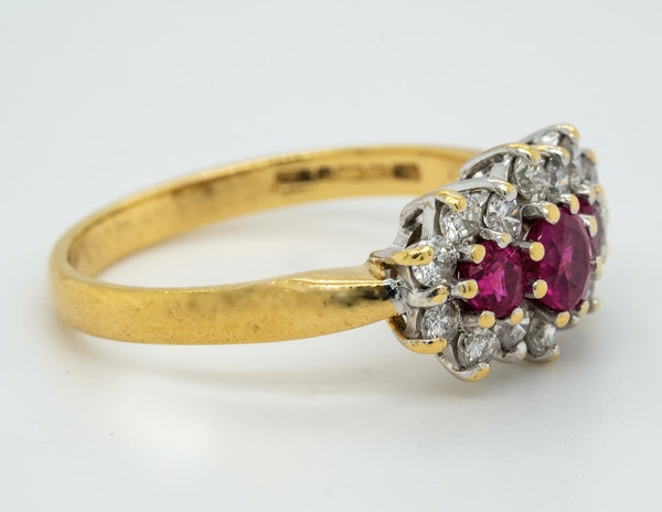 18K yellow gold 0.35ct Natural Ruby and 0.40ct Diamond Ring - image 2