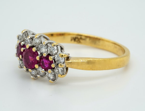 18K yellow gold 0.35ct Natural Ruby and 0.40ct Diamond Ring - image 3