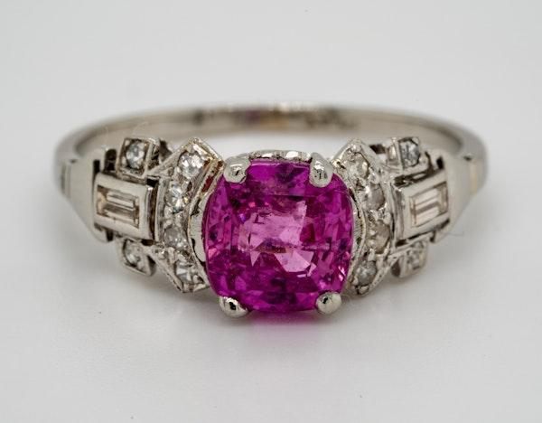 Vintage, Platinum 2.90ct Natural Pink Sapphire and 0.35ct Diamond Ring - image 1