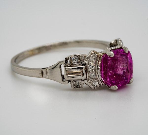 Vintage, Platinum 2.90ct Natural Pink Sapphire and 0.35ct Diamond Ring - image 2