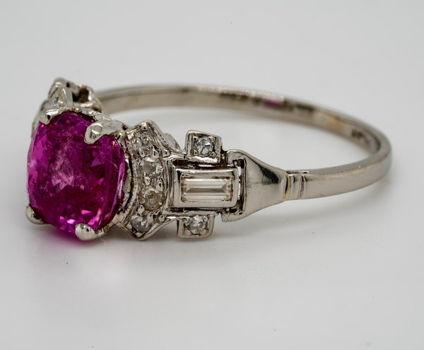Vintage, Platinum 2.90ct Natural Pink Sapphire and 0.35ct Diamond Ring - image 3