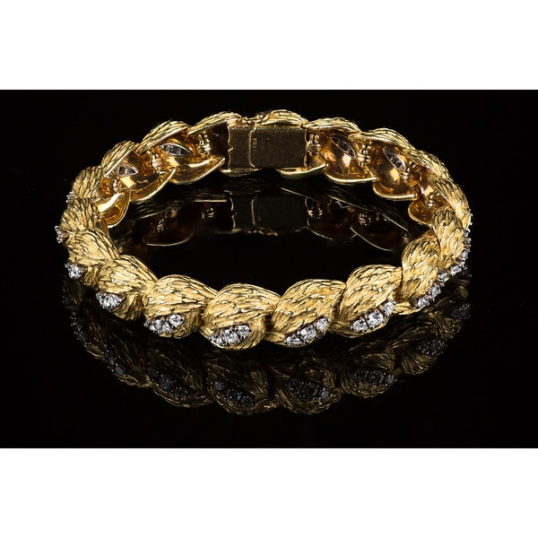 Vintage Georland of Paris, 18 Karat Gold and Diamond Bracelet, French circa 1965 - image 3