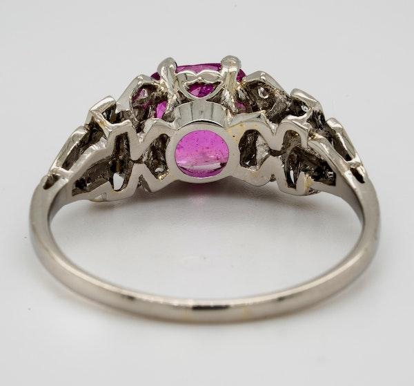 Vintage, Platinum 2.90ct Natural Pink Sapphire and 0.35ct Diamond Ring - image 4