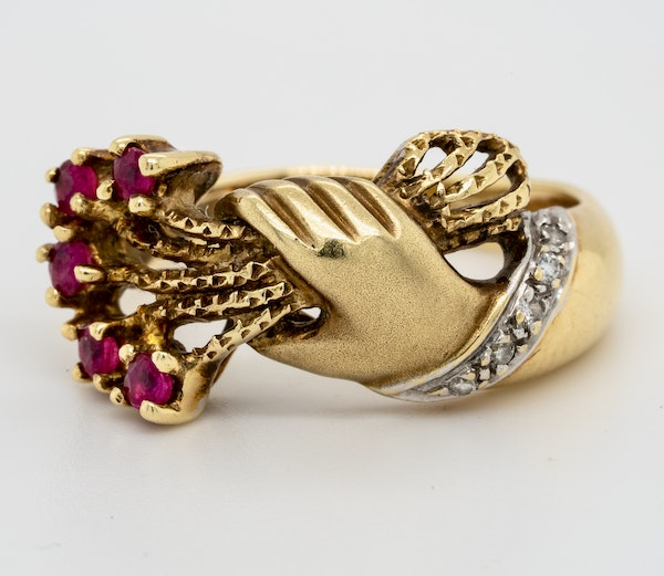 1920-s, yellow gold Natural Ruby and Diamond Ring - image 1