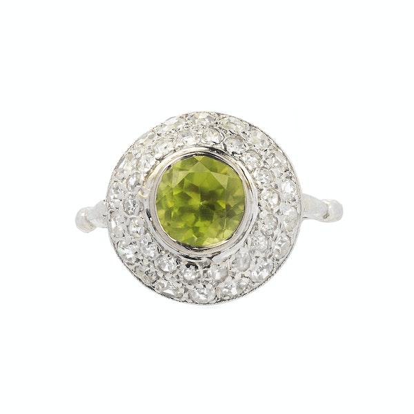 1930s Platinum, Diamond & Peridot Ring - image 1
