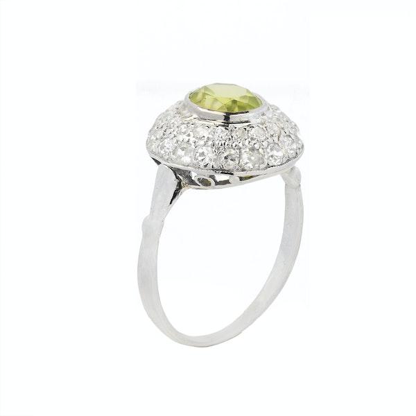 1930s Platinum, Diamond & Peridot Ring - image 2