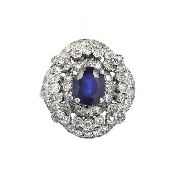 Platinum, Diamond and Sapphire Ring - image 1
