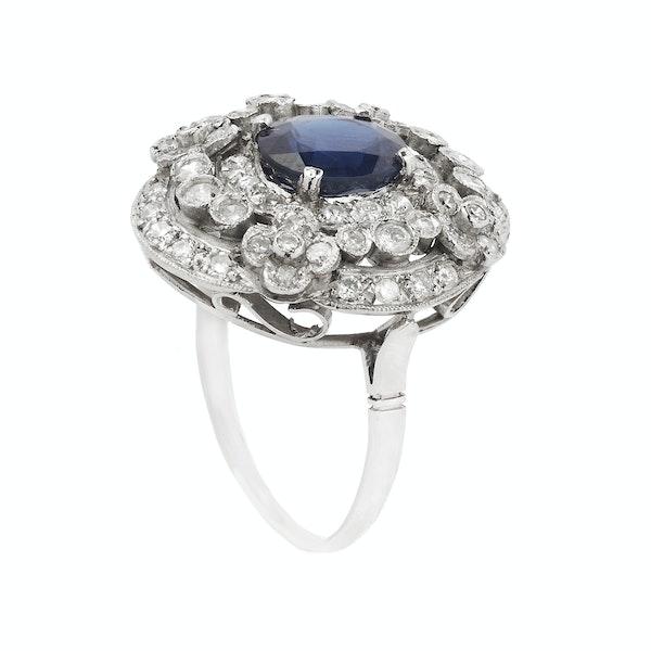 Platinum, Diamond and Sapphire Ring - image 2