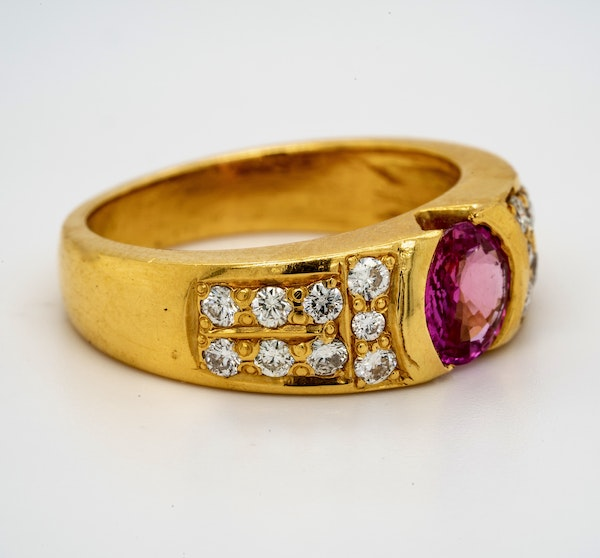 18K yellow gold 2.10ct Natural Pink Sapphire and 0.60ct Diamond Ring - image 1