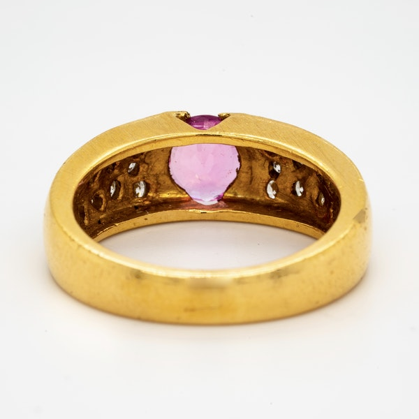 18K yellow gold 2.10ct Natural Pink Sapphire and 0.60ct Diamond Ring - image 2
