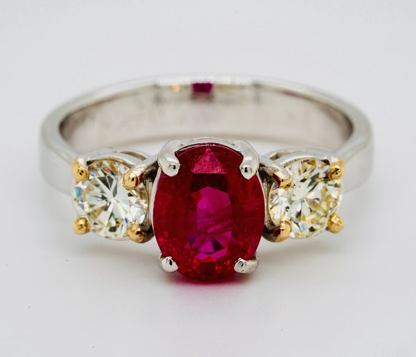 18K white gold 2.14ct Natural Burma Ruby and 0.70ct Diamond Ring. - image 1