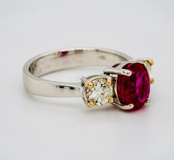 18K white gold 2.14ct Natural Burma Ruby and 0.70ct Diamond Ring. - image 2
