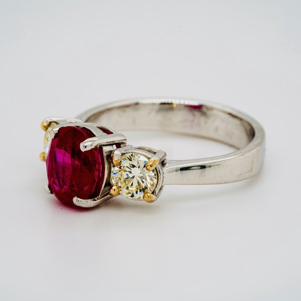 18K white gold 2.14ct Natural Burma Ruby and 0.70ct Diamond Ring. - image 3