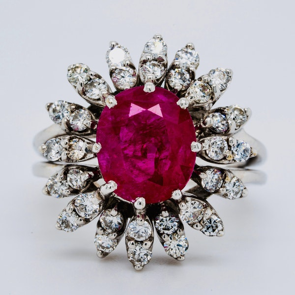 14K white gold 2.50ct Natural Ruby and 0.50ct Diamond Ring - image 1