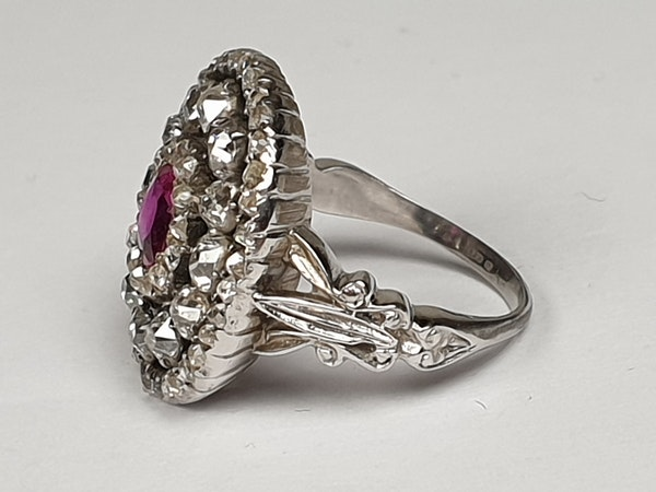 Super Antique Ruby and diamond dress ring  DBGEMS - image 4