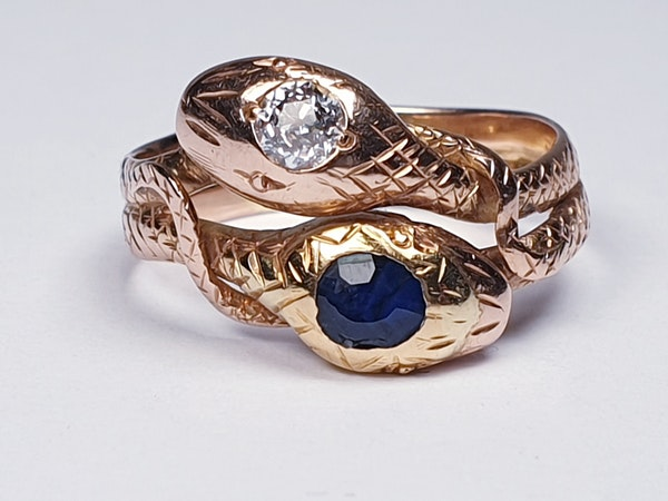 Sapphire and diamond snake ring  DBGEMS - image 1