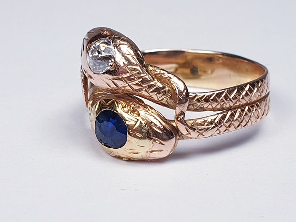 Sapphire and diamond snake ring  DBGEMS - image 4