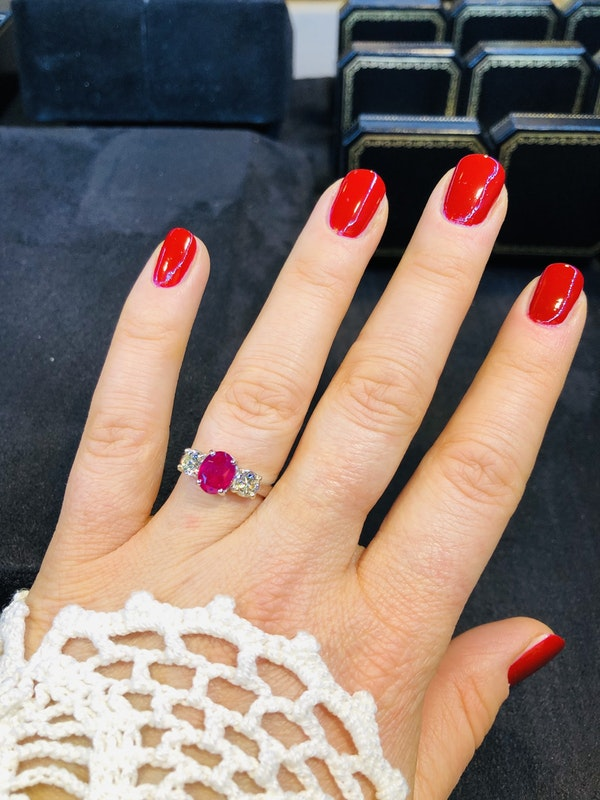 18K white gold 2.14ct Natural Burma Ruby and 0.70ct Diamond Ring. - image 5