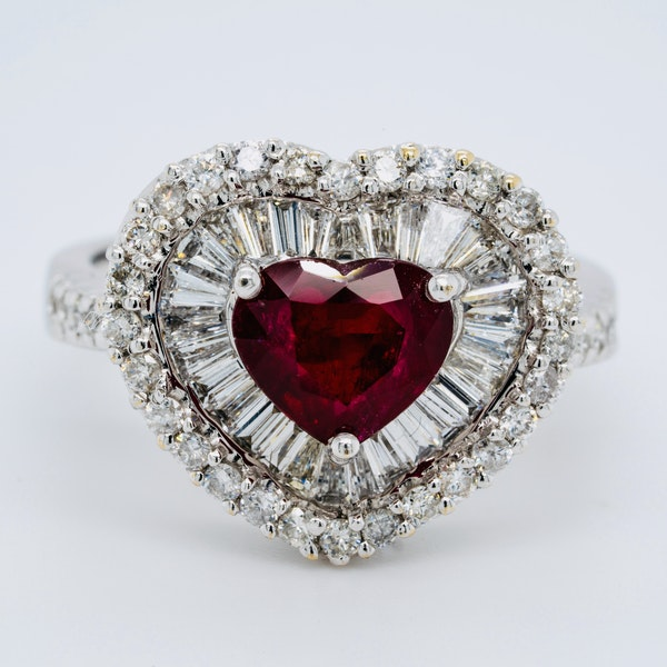 18K white gold 1.63ct Natural Ruby and 1.25ct Diamond Ring - image 1