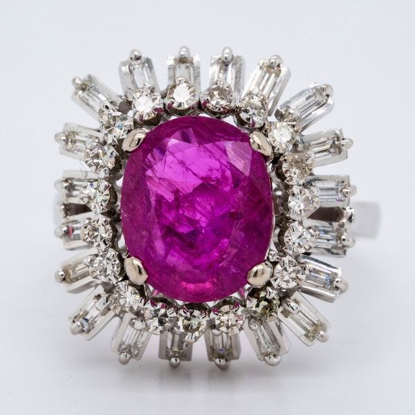 18K white gold 5.00ct Natural Ruby and 1.90ct Diamond Ring - image 1