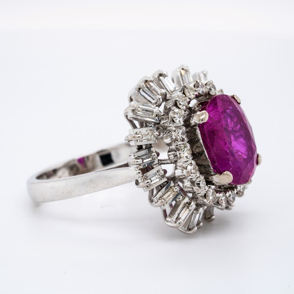 18K white gold 5.00ct Natural Ruby and 1.90ct Diamond Ring - image 3