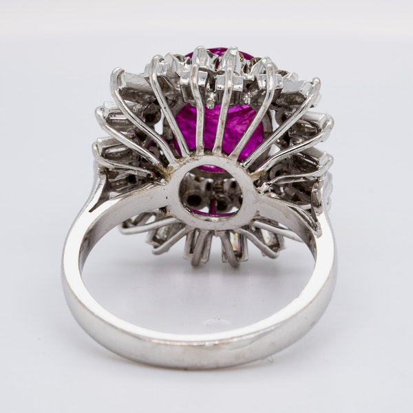 18K white gold 5.00ct Natural Ruby and 1.90ct Diamond Ring - image 4