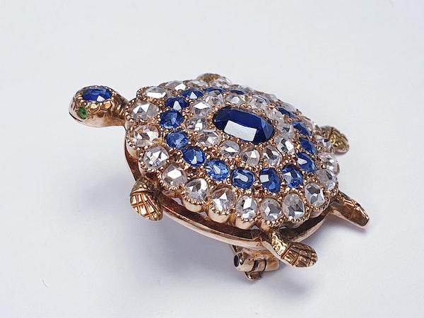 Antique sapphire and diamond turtle brooch  DBGEMS - image 1