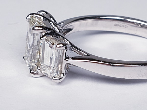 Emerald cut diamond and baguette three stone ring  DBGEMS - image 5