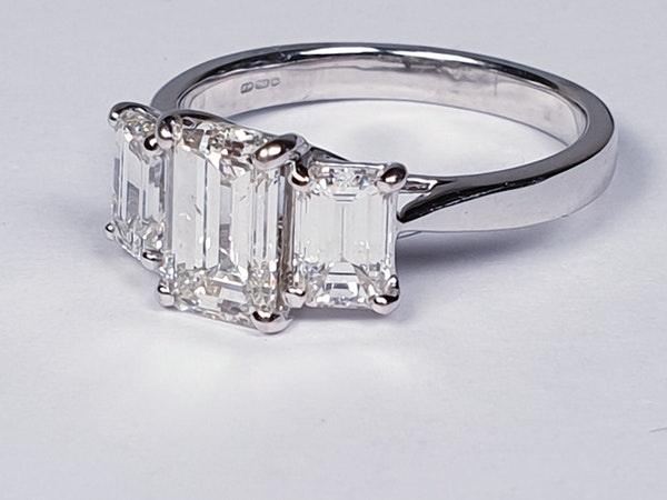 Emerald cut diamond and baguette three stone ring  DBGEMS - image 4