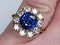 Large sapphire and diamond cluster engagement ring  DBGEMS - image 4