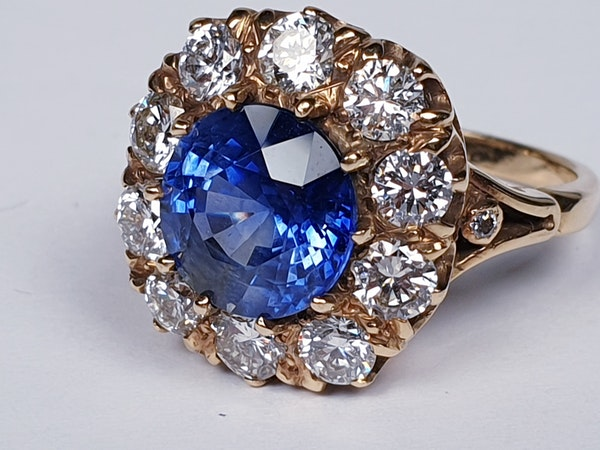 Large sapphire and diamond cluster engagement ring  DBGEMS - image 1