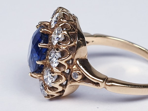 Large sapphire and diamond cluster engagement ring  DBGEMS - image 2