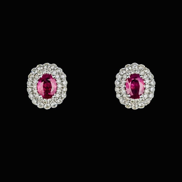18K white gold 2.73ct Natural Ruby and 2.28ct Diamond Earrings - image 3