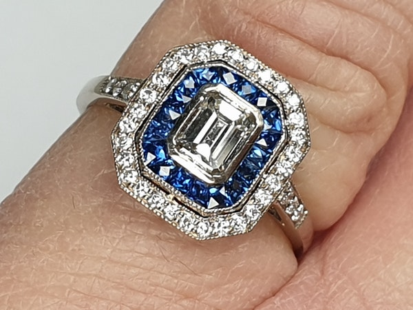 French Sapphire and Diamond Engagement Ring  DBGEMS - image 1