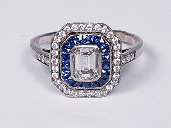 French Sapphire and Diamond Engagement Ring  DBGEMS - image 6