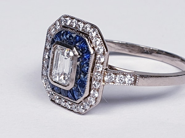 French Sapphire and Diamond Engagement Ring  DBGEMS - image 5