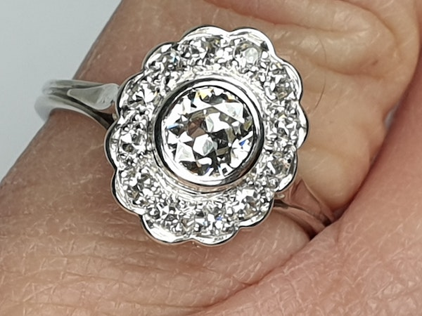 French Oval Diamond Cluster Engagement Ring  DBGEMS - image 2