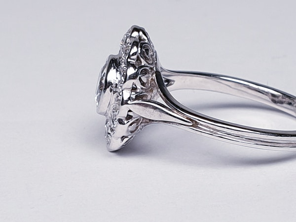 French Oval Diamond Cluster Engagement Ring  DBGEMS - image 4